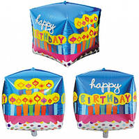 Шар фольгированный квадратный Happy Birthday синий, 33 см