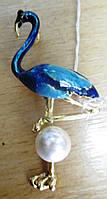 Изящная  брошь-кулон  голубой фламинго от студии LadyStyle.Biz, фото 1