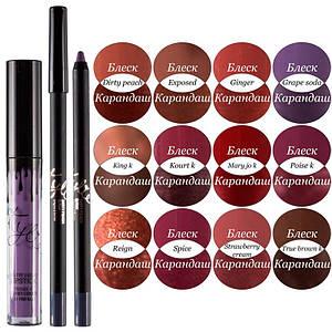 Набір для губ помада і олівець Kylie matte liquid lipstick & lip liner