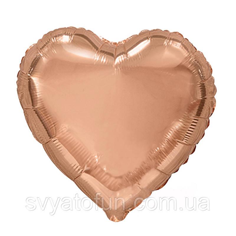 """Фольгированный шар сердце розовое золото 19"""" AS-100 ArtShow"""