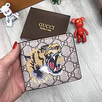 Мужской кошелек Gucci портмоне тигр коричневый новая модель 2018 года бумажник кожа PU Гуччи люкс реплика, фото 1
