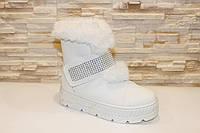 Ботинки женские зимние белые на липучках код С706, фото 1