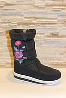 Сапоги дутики женские зимние черные с цветами код С712, фото 1