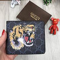 Брендовый кошелек Gucci портмоне тигр черный новинка 2018 года бумажник женский мужской экокожа Гуччи реплика