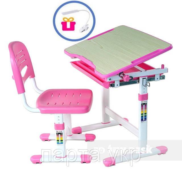 Комплект парта и стул Piccolino + лампа, розовая