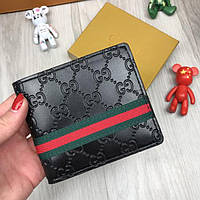 Красивый кошелек Gucci Web GG Supreme черный  экокожа женский и мужской бумажник портмоне Гуччи люкс реплика