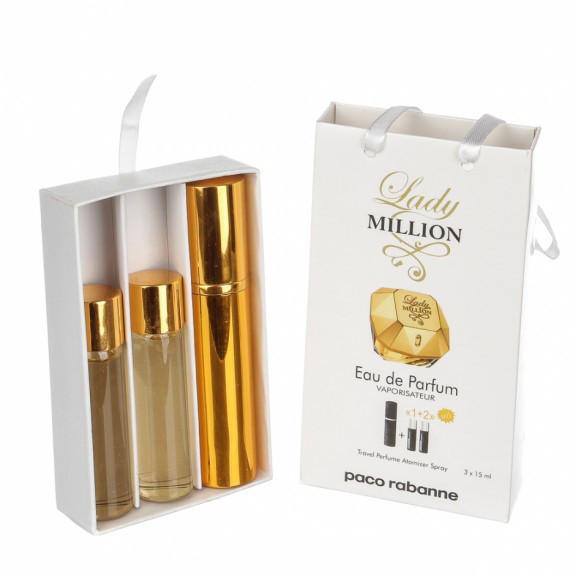 Набор с феромонами - Paco Rabanne Lady Million (3×15 ml)