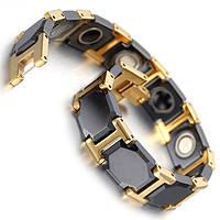 Браслет магнитный из Карбид вольфрама черный с золотыми вставками