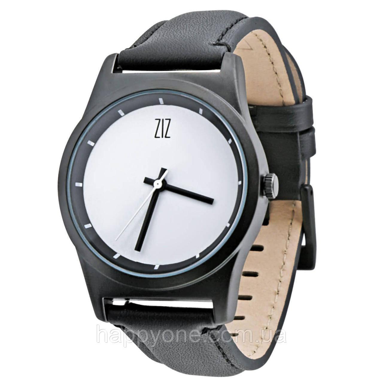 "Часы ""6 секунд"" White (черный ремешок)"