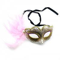 Маска карнавальная женская светло-розовая