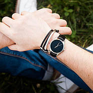 """Часы наручные """"Черный минимализм"""" (черный-серебро) + дополнительный ремешок, фото 5"""
