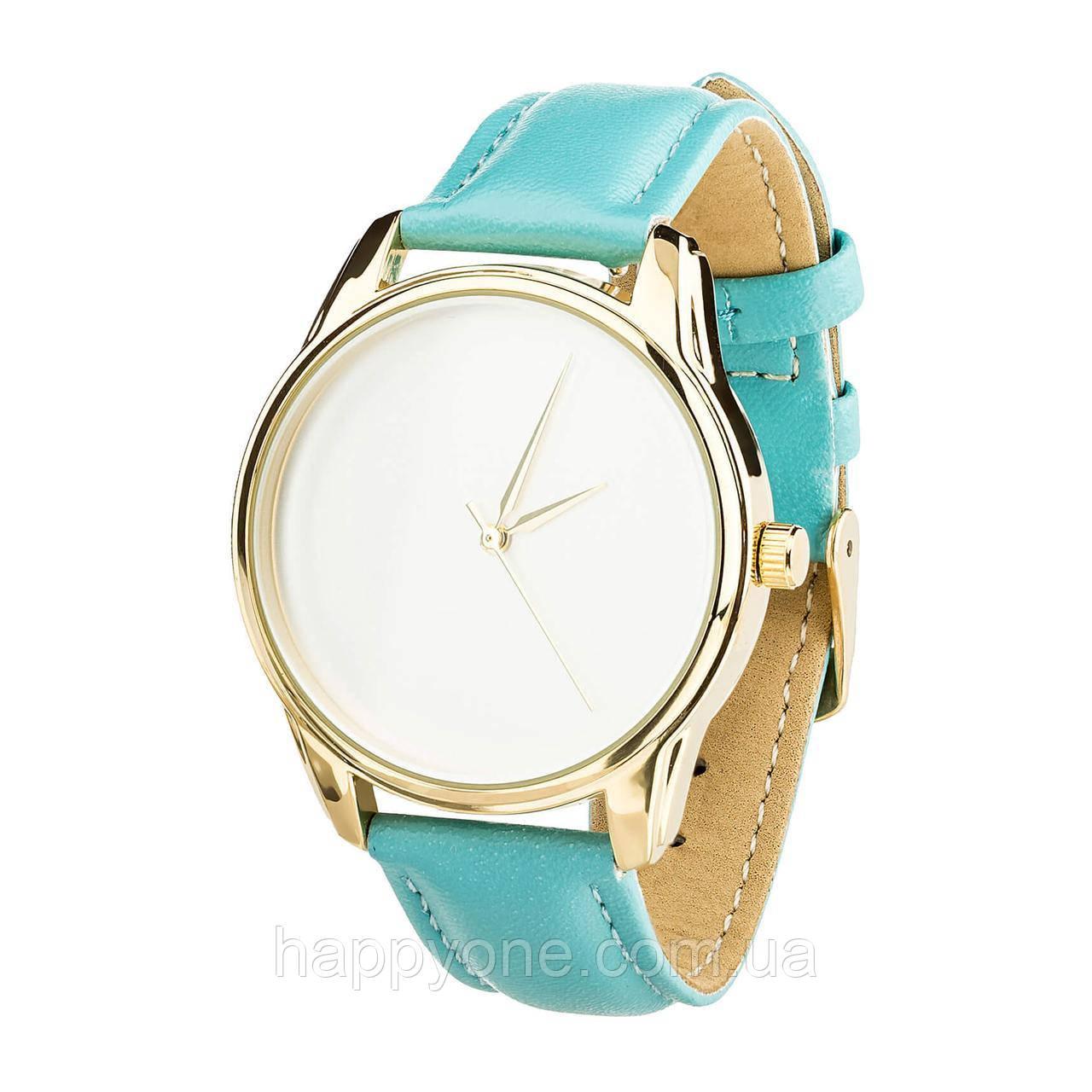"""Годинник наручний """"Мінімалізм"""" (блакитний-золото) + додатковий ремінець"""