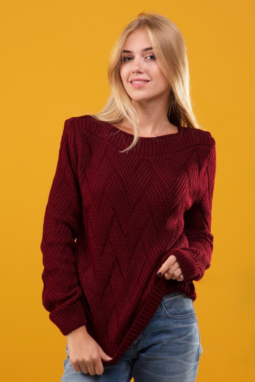 бордовый вязаный свитер размер 46 50 купить по лучшей цене в