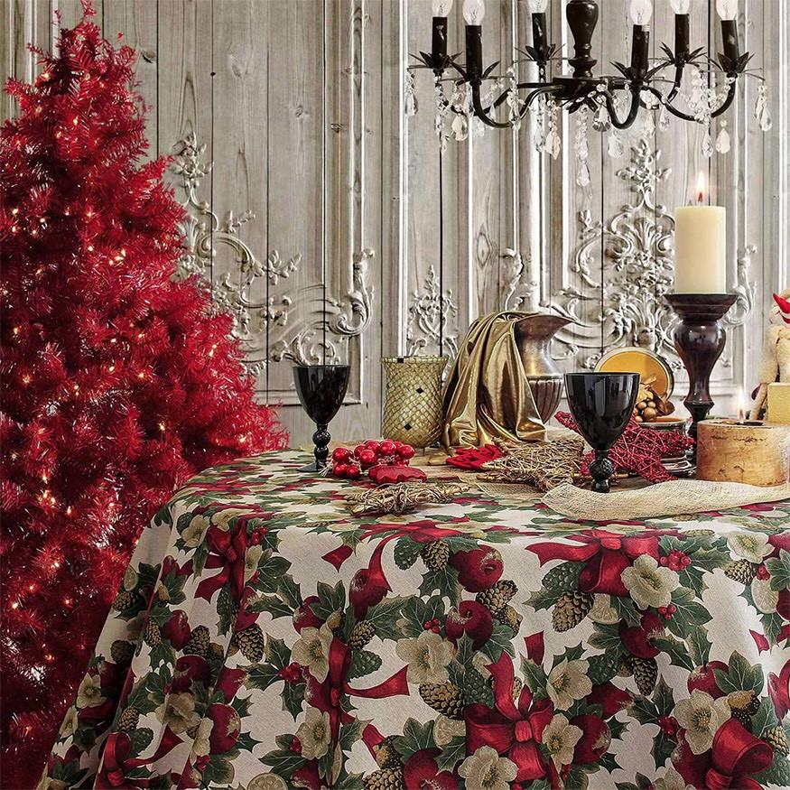 """Новогодняя скатерть """"Christmas Flowers"""""""