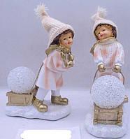 "Сув.керам.светящ."" Дети со снеж.шаром"" 20см, 2в 092"