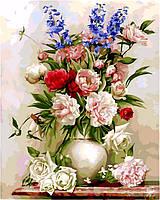 Картины по номерам Букет в белой вазе худ Бузин Игорь (VP328) 40 х 50 см DIY Babylon