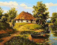 Раскраска по номерам Домик возле пруда (VP356) 40х50 см