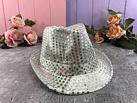 Шляпа Диско с пайетками, серебро