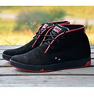 7bf890a13333 Стильная Мужская Зимняя Обувь LEVIS с мехом теплая черная с красным