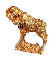 Шкатулка со стразами металлическая Жираф