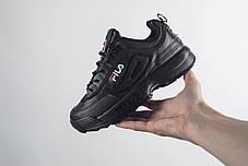 Женские демисезонные кроссовки Fila черные топ реплика, фото 2
