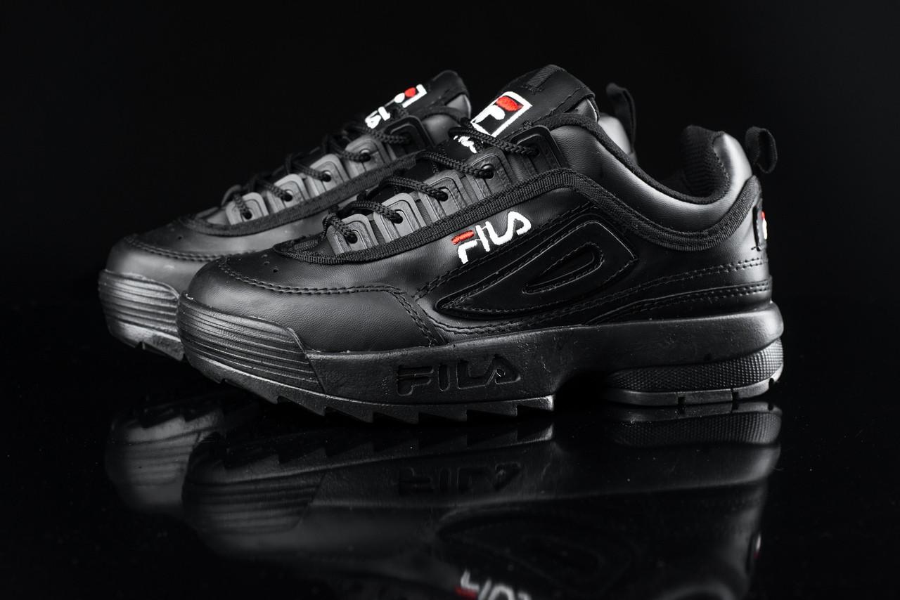Женские демисезонные кроссовки Fila черные топ реплика