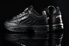 Женские демисезонные кроссовки Fila черные топ реплика, фото 3