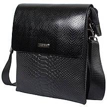 3266df8a2a88 Мужская кожаная сумка HT 3345-5 черная (24,5х20,5х6 см) с имитацией ...