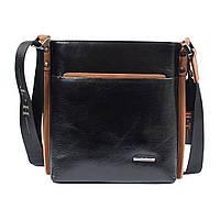 3f86f487702a Мужская кожаная сумка HT 3410-4 черная (23,5х23х5 см) с контрастной