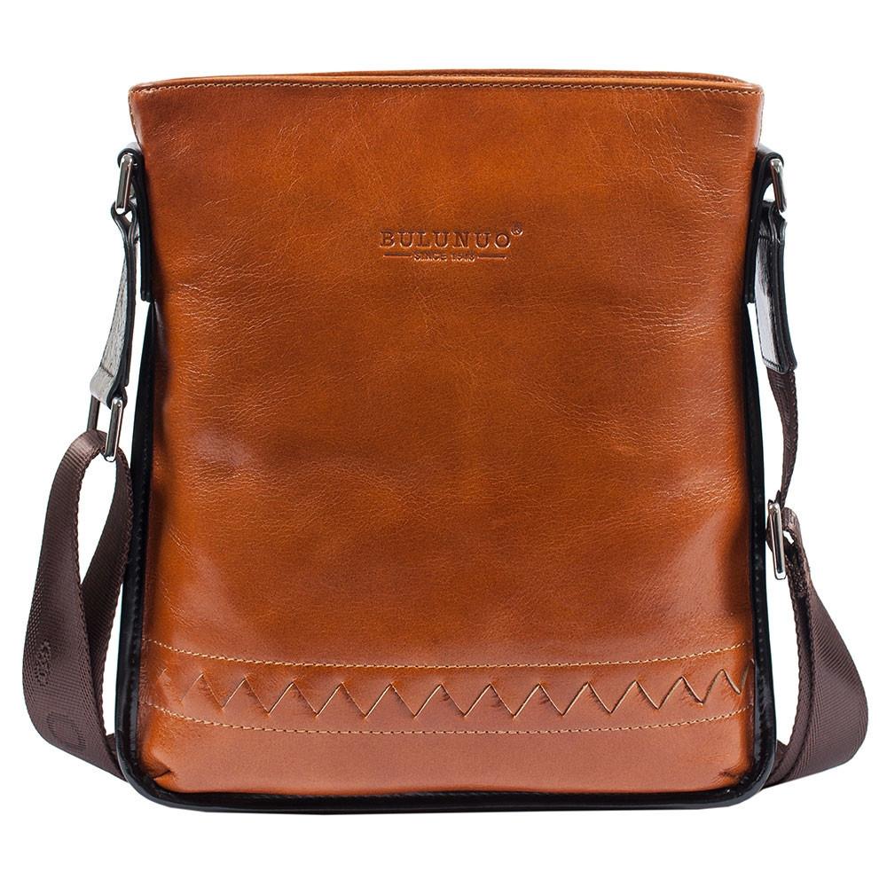 3cdf9a646bf7 Мужская кожаная сумка Bulunuo 5927-1 рыжая (28х24,5х6 см) - АксМаркет