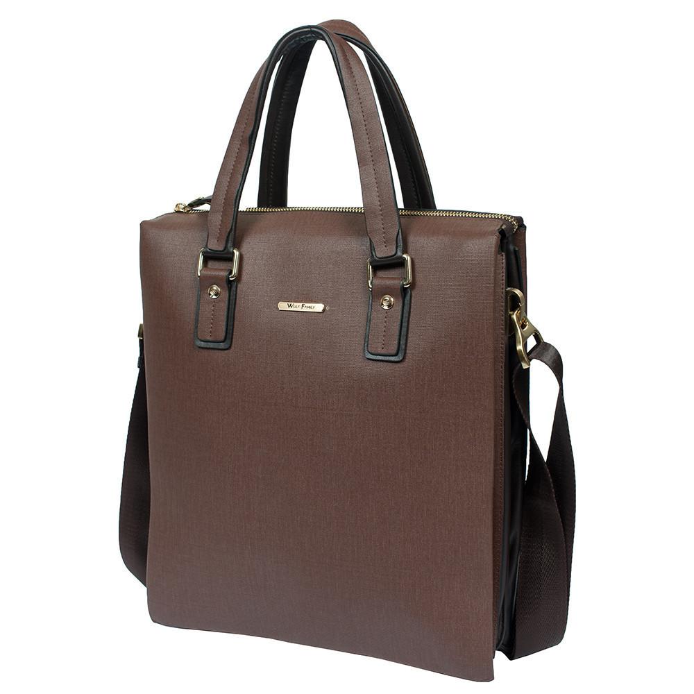6da81681df85 Мужской кожаный портфель вертикальный Wolf Family 57009-3 коричневый  (38х33х8 см) - АксМаркет