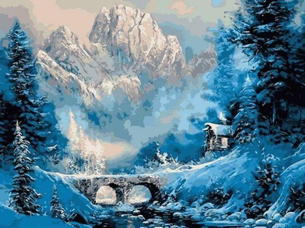Раскраска по цифрам 30×40 см. Зима в горах