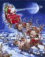 Раскраска по цифрам 40×50 см. Санта-Клаус Художник Ричард Макнейл