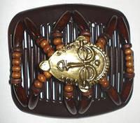 Этнические заколки для волос African butterfly Bronze age на основе 2-х гребней с бронзовыми масками