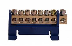 Шина нулевая ВС-508  на изоляторе 8 отверстий 6х9 мм на DIN-рейку
