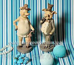 Статуэтки декоративные Свин с трубкой и Свинка с зонтиком, фото 2