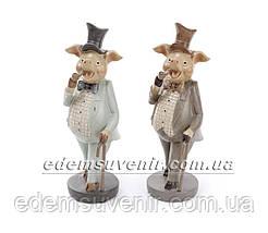 Статуэтки декоративные Свин с трубкой и Свинка с зонтиком, фото 3
