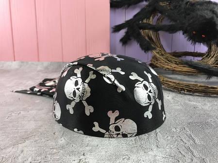 Шляпа Пиратская бандана с черепами детская в серебре, фото 2