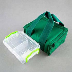 Комплект термосумка зеленая + контейнер  для еды 0,5 л