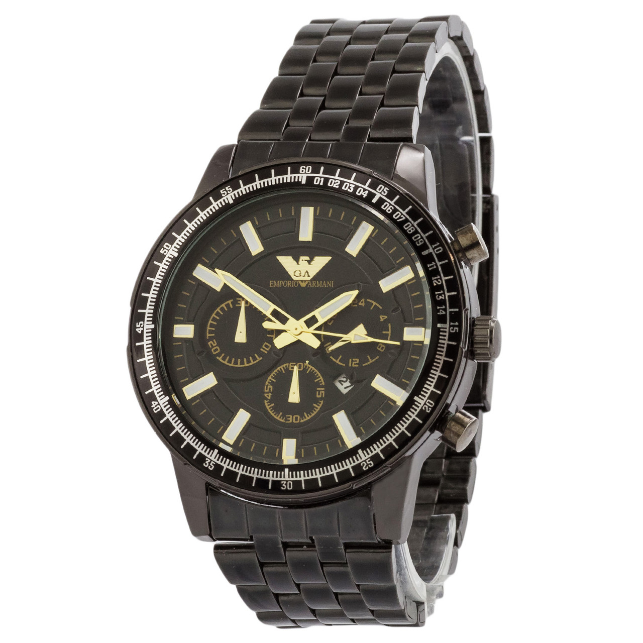 ЧАСЫ Мужские EMPORIO ARMANI SSB Black (эмпорио армани черные) Наручные Чоловічий годинник реплика