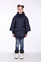 """Детская зимняя куртка для девочки от производителя """"Жанна"""" синий горох"""