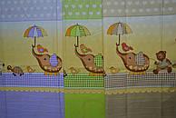 """Ткань польская  для детской постели с набивным рисунком """"слоник с зонтиком"""" все кроме кофейного"""