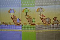 """Ткань польская  для детской постели с набивным рисунком """"слоник с зонтиком"""""""