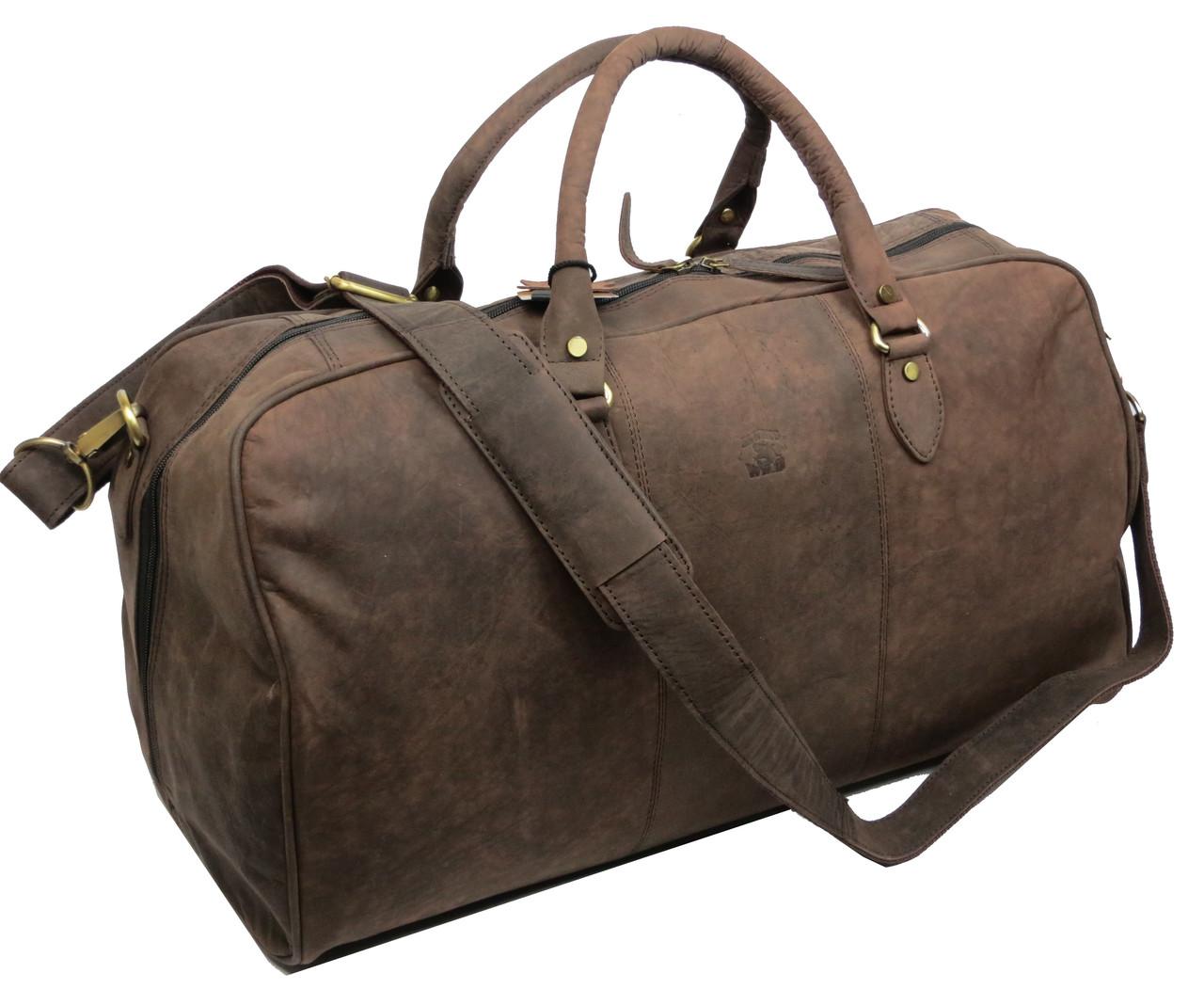 Дорожная кожаная сумка, саквояж 33 л Always Wild C20.004 brown