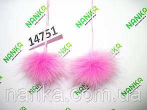 Меховой помпон Песец, Розовый, 6 см, пара 14751, фото 2