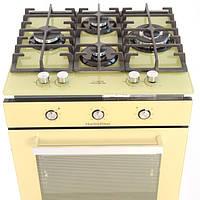 Бежевый функциональный комплект техники - бежевая газовая поверхность + бежевый электрический духовой шкаф, фото 1