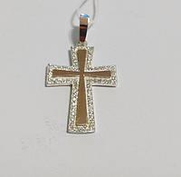 Крест серебряный с золотом и цирконами 370, фото 1