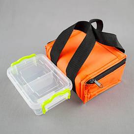 Комплект термосумка оранжевая + контейнер  для еды 0,5 л