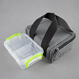 Комплект термосумка серая + контейнер  для еды 0,5 л