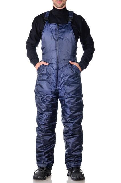 Полукомбинезон зимний темно-синий, утепленный рабочий комбинезон